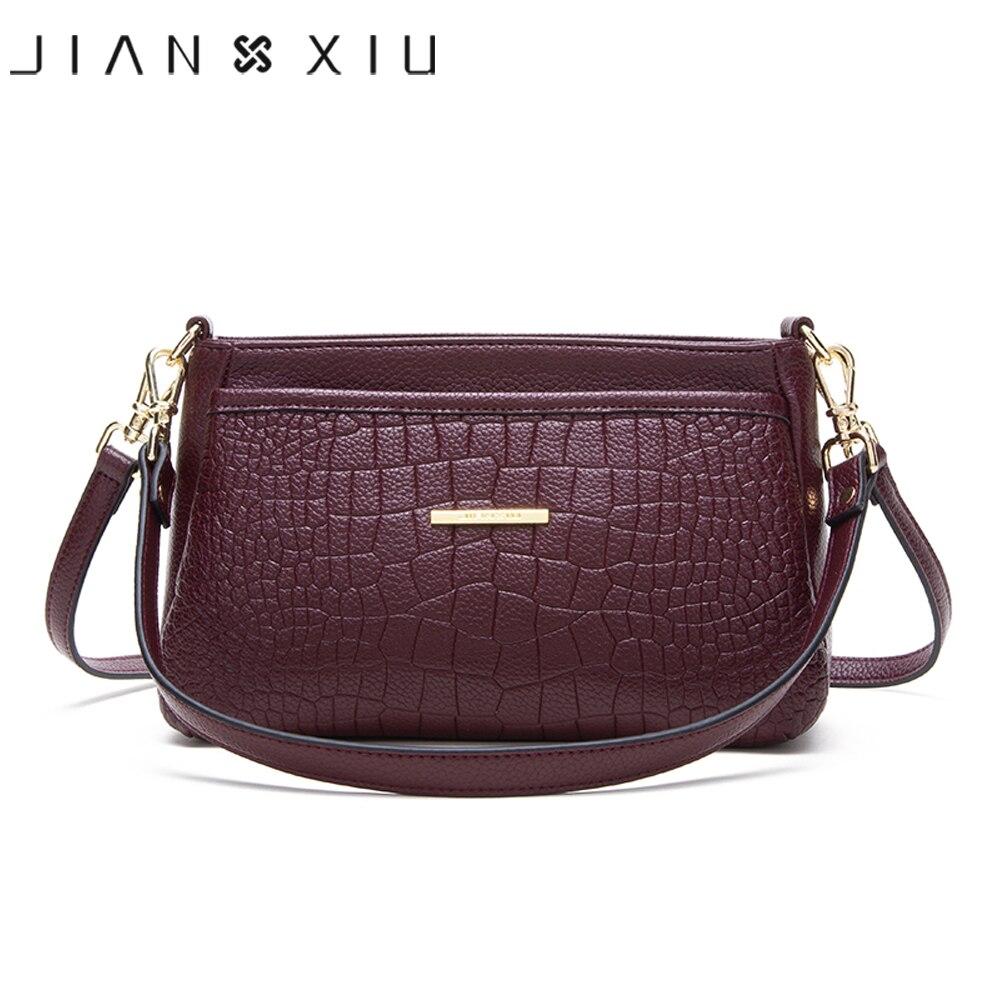 Jianxiu 브랜드 여성 어깨 crossbody 악어 패턴 정품 가죽 핸드백 2019 새로운 여성 메신저 가방 작은 토트 백-에서숄더 백부터 수화물 & 가방 의  그룹 3