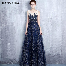 BANVASAC 2018 Crystal Scoop Neck A Line Sequined Appliques Long Evening Dresses Party Lace Sash Backless Prom Gowns все цены