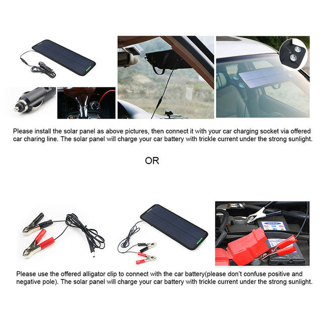 Portable Solar Car Battery Charger 18V 7.5W Solar Power Car Battery Maintainer for Boat Car Vehicle Motorbike 12V Battery.