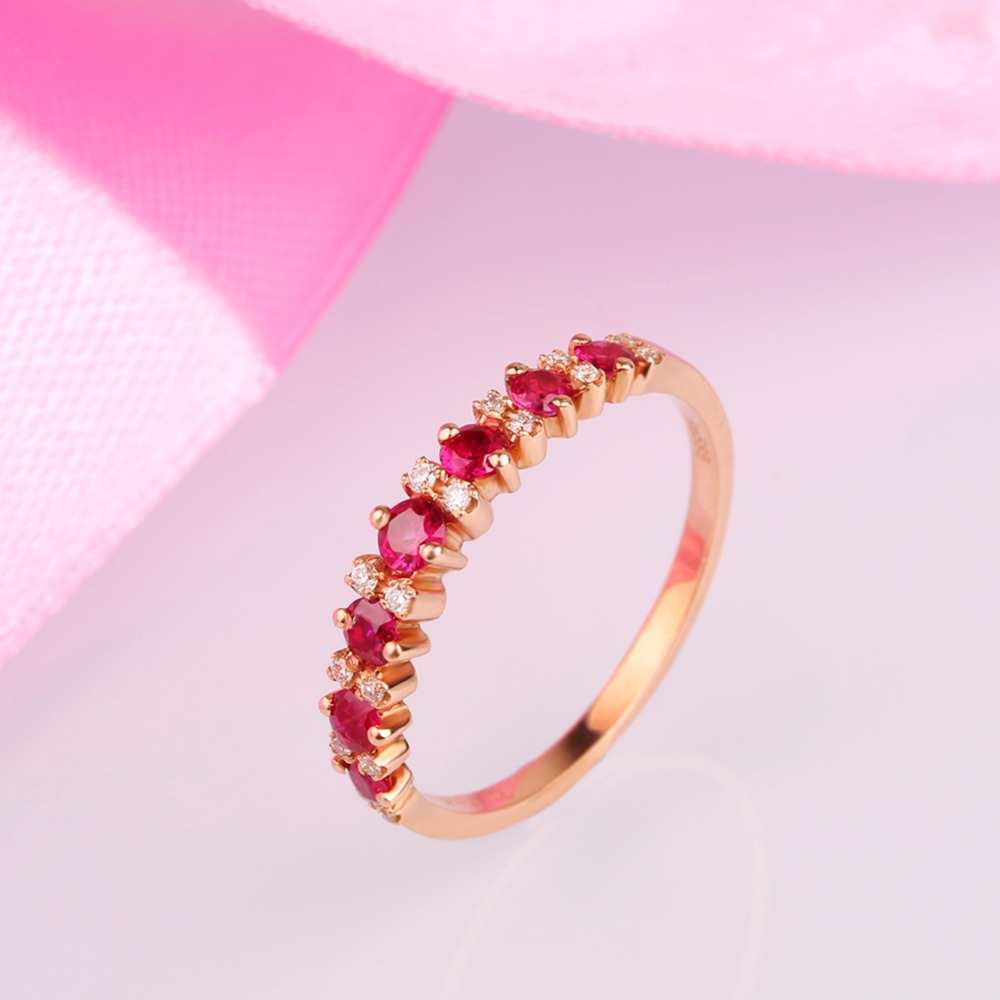 Robira Wedding Rings for Women Natural Ruby Red Charms Ring Female ...