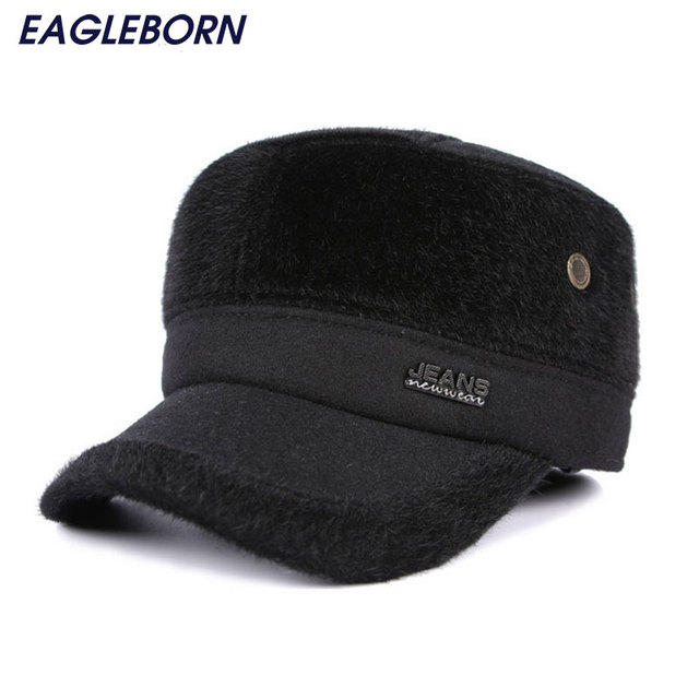 02cd8e94 New Winter men Flat top drake cap faux fur hat chapeu patchwork caps with  earflaps protect ears thicker gorras Dad hat