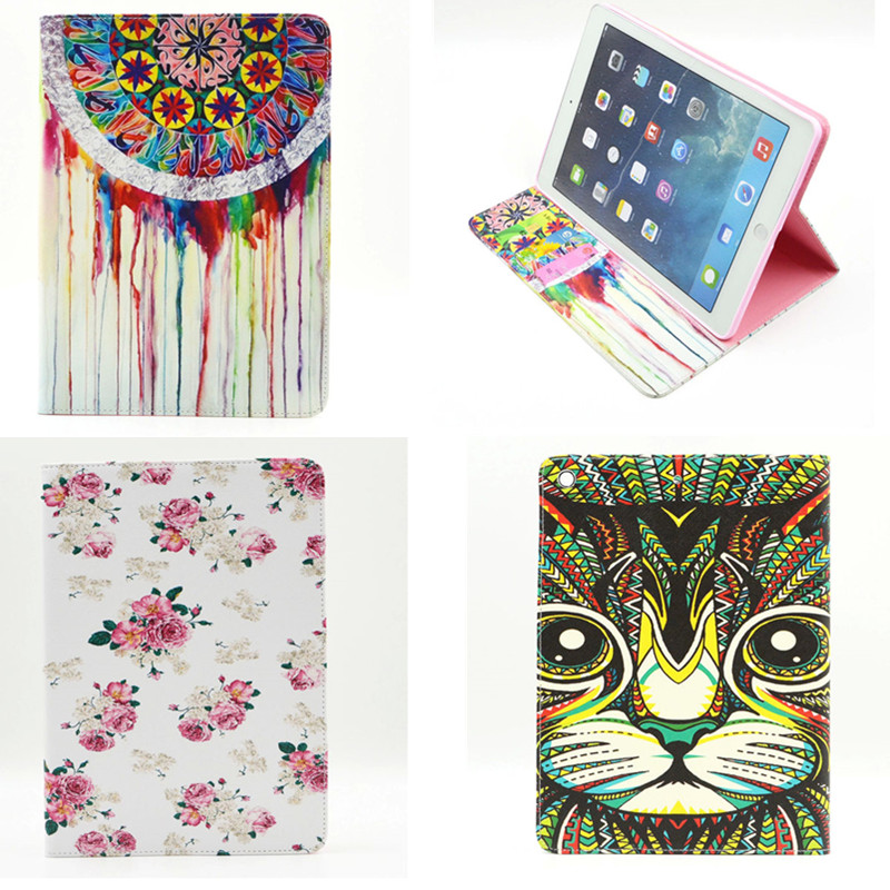 BF-Flower Colorful Painting PU leather cover for iPad air case cover for iPad 5 iPad air1 stand unique design 2016 hot