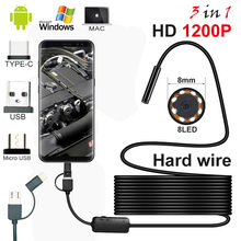 2018 Newest 2MP  8mm Waterproof Mini 3 In 1 Endoscope USB Wire Snake Tube Inspection Borescope Compatible Android Smartphone PC