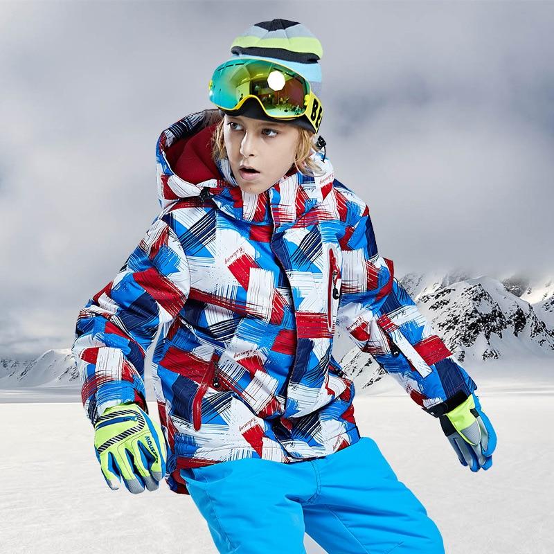 Boys Girls Kids Children Ski Suit Waterproof  Ski Jacket Snow Pants Thermal Boys Girls Winter Outdoor Hooded Clothes Costume Set