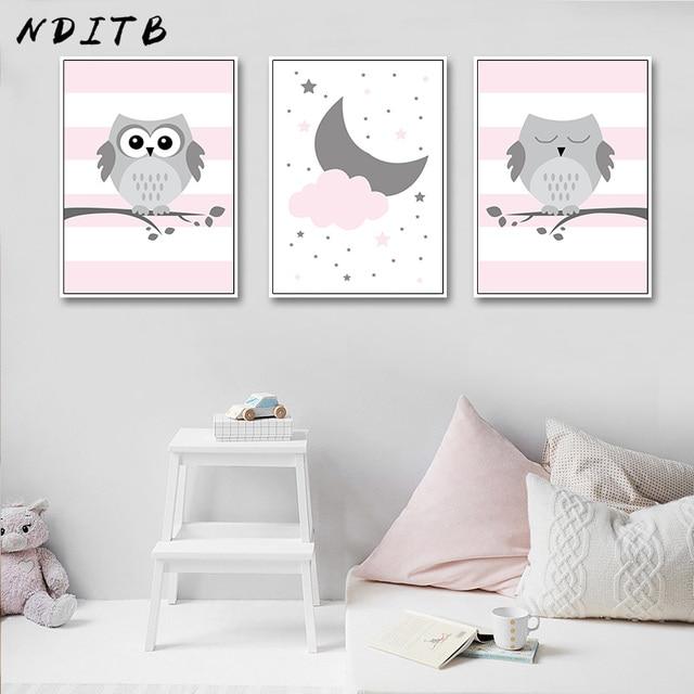 Nditb Woodland Animal Pink Owl Canvas Poster Cartoon Nursery Wall Art Print Minimalist Painting Nordic Kids Bedroom Decoration