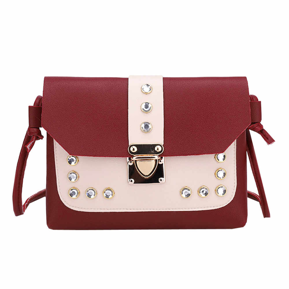 Women Bag Hit Color Rhinestone Shoulder Messenger Satchel Tote Crossbody torebka damska sac a main femme de marque soldes