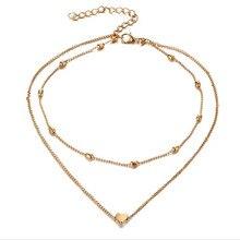 DOUBLE HORN PENDANT HEART NECKLACE GOLD Dot LUNA Necklace Women