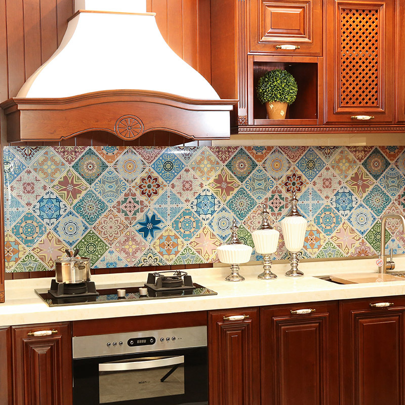 Kitchen Oil-proof Stickers High Temperature Cooktop Self-adhesive Tile Cabinet Countertop Range Hood Wall Stickers Wallpapers