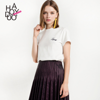 Haoduoyi Cold Wind Ins Girls Sweet Aesthetics Student Letter T shirt Round collar Short sleeved T shirt Girls