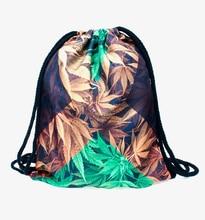 Who Cares Women Backpack jamaica weed 3D Printing Fashion Bag for Picnic Mochila Feminina Drawstring Bag Mens Backpacks