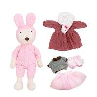 Le sucre Kawaii 45 cm lapin lapin en peluche poupées enfants jouets, 1 lapin + 3 ensembles de vêtements, pour enfants filles jouet cadeaux mignon Vêtements