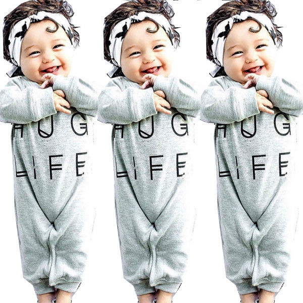 Newborn Baby Boys Girls Bodysuit Hug Life Romper Jumpsuit Outfits Casual Clothes