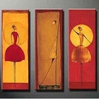 אופנה סלון עיצוב בית ציור שמן יד מצוירת ציורים צבעוניים נשים ריקוד מופשט וול אמנות המודרני תמונה 3 פנלים