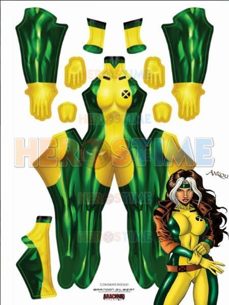 Rogue Costume Green and Yellow X-Men Rogue No Boots Costume Cosplay Suit