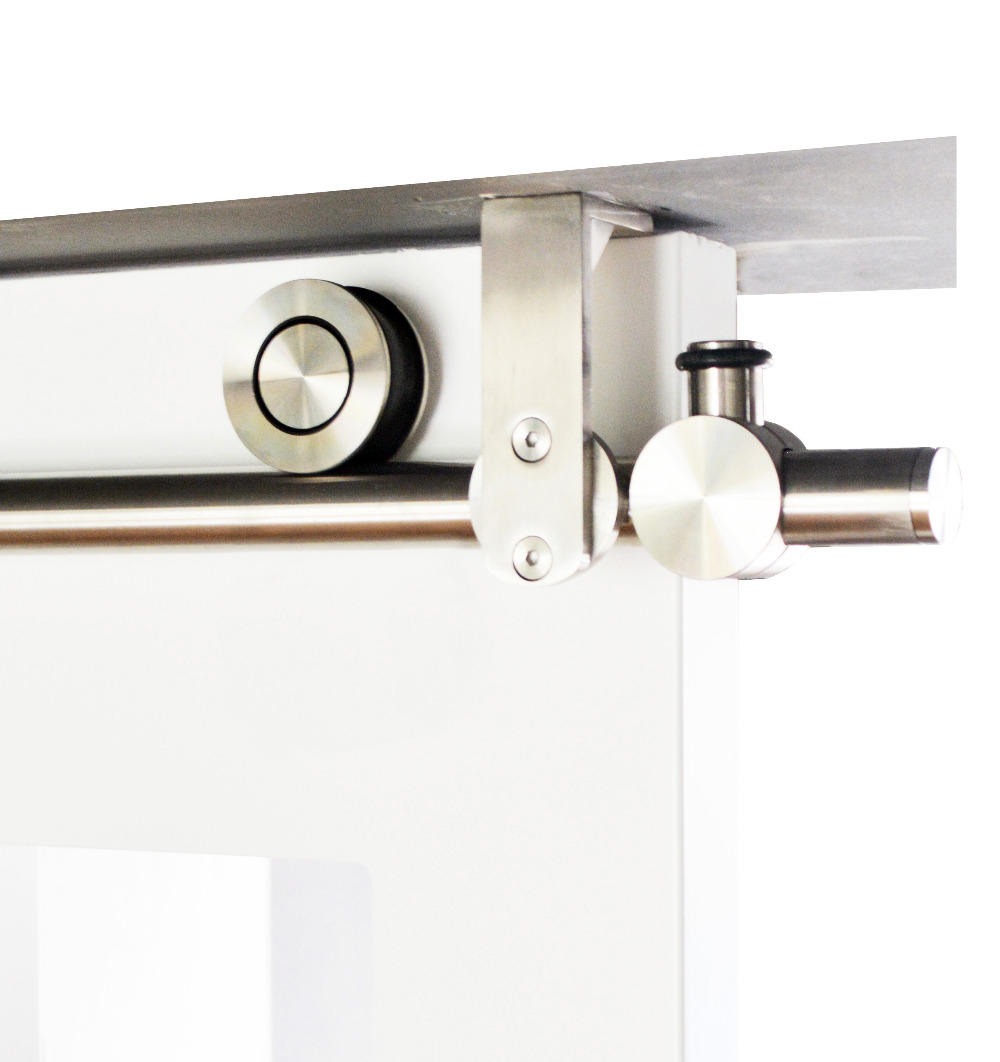DIYHD 150 cm-244 cm support de montage au plafond en acier inoxydable matériel de rail de porte en bois de grange coulissante