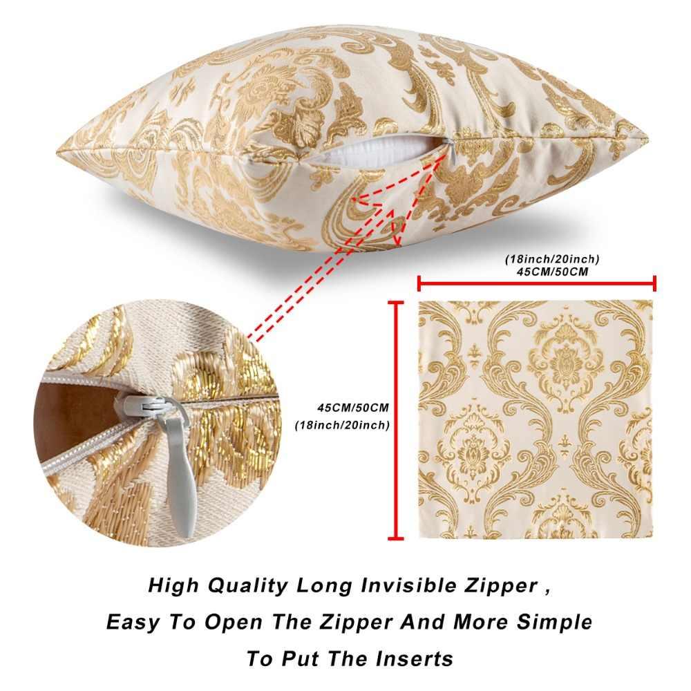 Bantal Sofa Mewah Emas Jacquard Sarung Bantal Bantal Cover Dekorasi Rumah Wholesale 2 Pack untuk 18X18 Inch