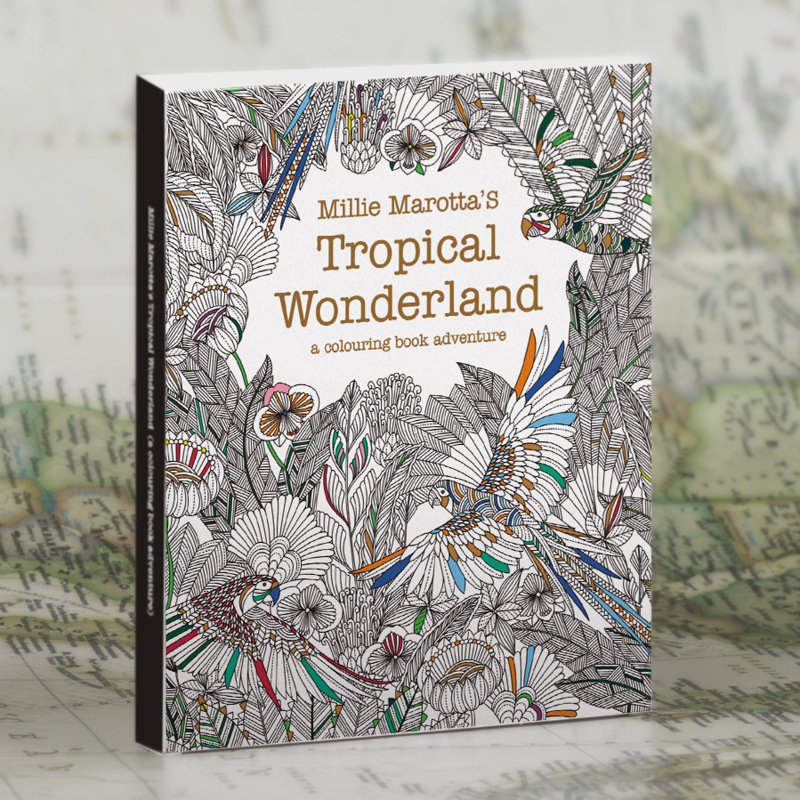 Tropical Wonderland 30 Pages English Secret Garden Rainforest Large Size Postcard Coloring Book Painting Graffiti Decompression