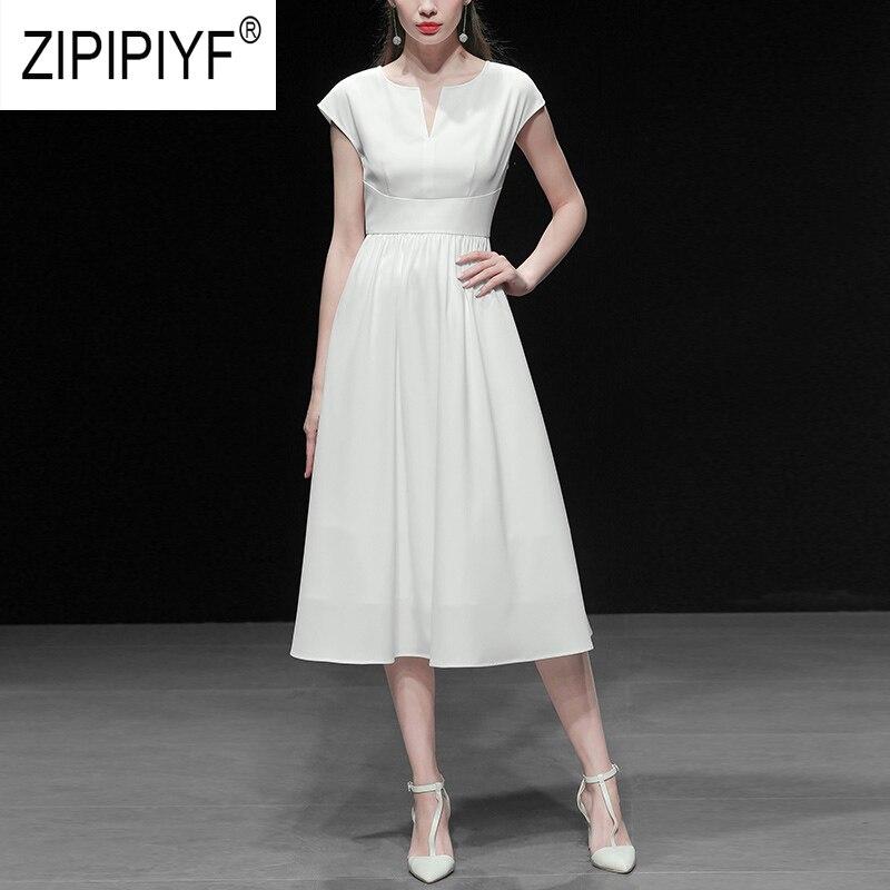 2019 ฤดูร้อนแฟชั่นผู้หญิง V คอสั้นแขนเอวสูงชุดบอลชุดลำลองสีทึบชุด Z1154-ใน ชุดเดรส จาก เสื้อผ้าสตรี บน   1