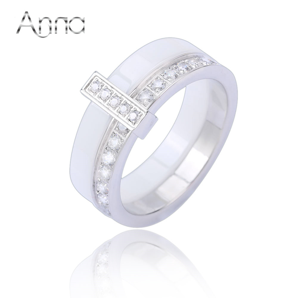 A N Women s Rings With Princess Crystal Stone Fashion Band Charm Ceramic Rings Simple White