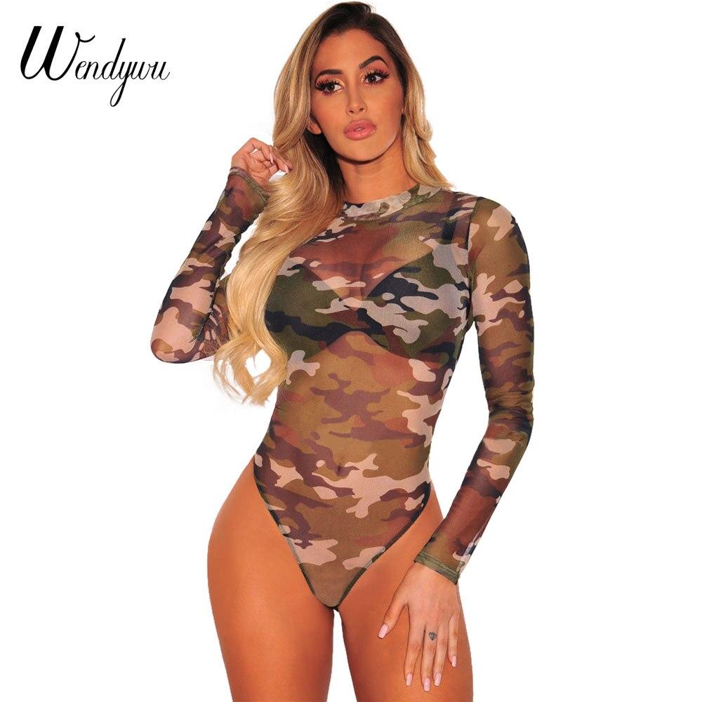 Cheap Sale Women Fashion Casual Army Camo Camouflage O-neck Slim Women Bandage Short Sleeve Bodysuit Summer Clothing Women's Clothing