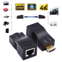 4 k Full HD 1080 P 3D 30 M 98ft HDMI 2,0 удлинитель по одному RJ45 Cat 5e/6 сетевой Ethernet-Кабель адаптер 4 k * 2 k HDCP без питания