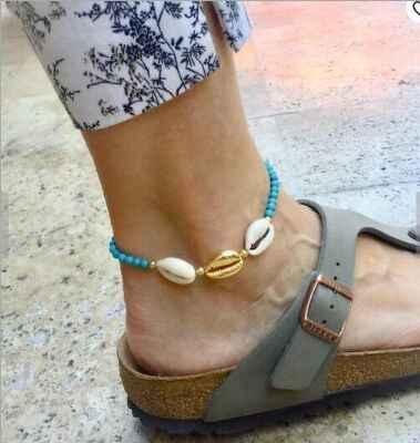 1 pc lato plaża Tassel muszla wisiorek stóp bransoletka na kostkę czeski Metal powłoki złota muszelki ręcznie na drutach liny łańcuch kobiet 8428