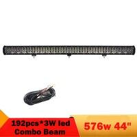 576 Вт 44 дюймов светодиодный Бар Бампер фар Светодиодный работы бар дальнего света для бездорожья 4WD 4x4 автомобиль, грузовик ATV внедорожник Ло