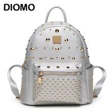 Diomo заклепки рюкзак натуральная кожа рюкзак для девочек стильные женские небольшие рюкзаки серебристый/черный/розовый/белый
