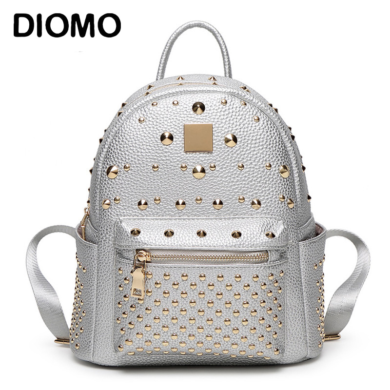DIOMO Rivets Backpack Genuine Leather Backpack for Girls Stylish Women Small Backpacks Silver / Black / Pink / White