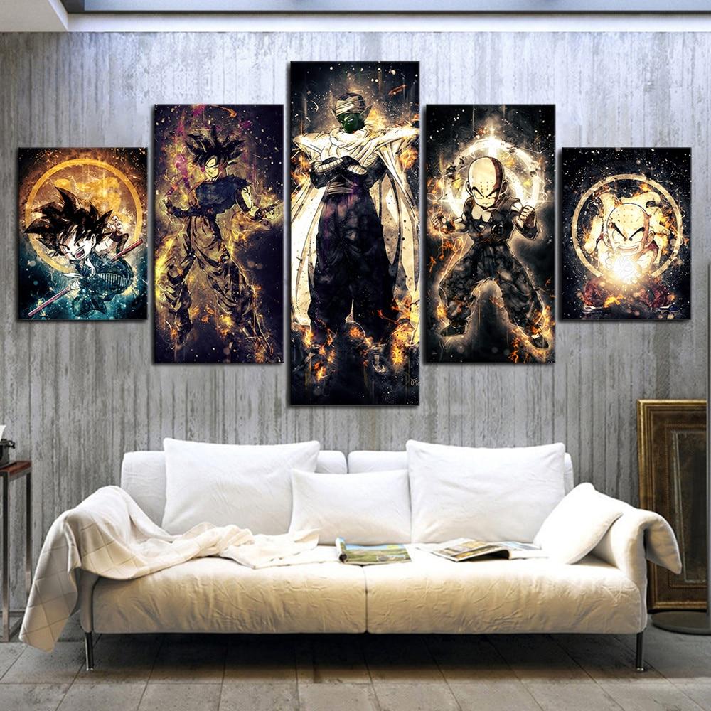 5 Piece Dragon Ball Z Anime Poster Paintings Kulilin Piccolo Goku Poster Abstract Art Wall Painting for Home Decor Wall Art 1