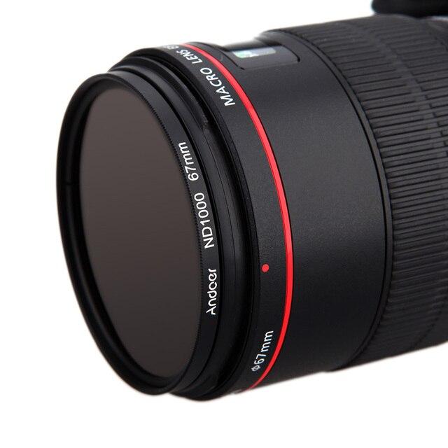 Andoer ND Lọc 67 mét/72 mét/77 mét/82 mét ND1000 10 Dừng Fader Neutral Mật Độ lọc đối với Canon Nikon Máy Ảnh DSLR Máy Ảnh