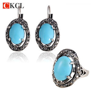 Earrings-Set Crystal Luxury Big 2pcs Retro Resin Oval-Shape Wholesale