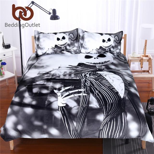 Beddingoutlet Schwarz Und Weiß Bettwäsche Set Nightmare Before