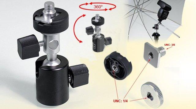 "10pcs/lot 360 Degree Swivel Camera Flash Hot Shoe Umbrella Holder Swivel Light Stand Bracket C 3/8"" to 1/4"" Adapter"