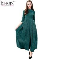 2017 Autumn Winter O Neck Elegant Vintage Maxi Long Dresses Thicken Dress Solid Ankle Length Plus
