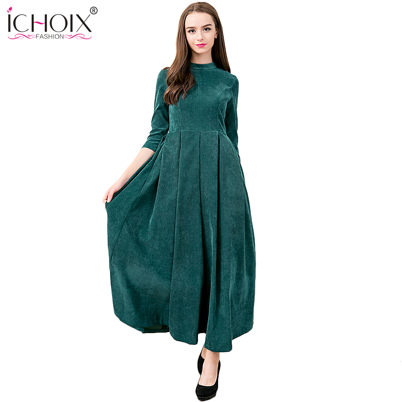 2017 Autumn Winter O Neck Elegant Vintage Maxi Long Dresses Thicken Dress Solid Ankle Le ...