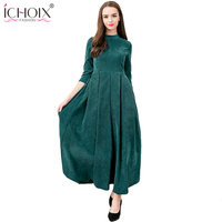 2017 Autumn Winter O Neck Elegant Vintage Maxi Long Dresses Thicken Dress Solid Ankle Length Plus