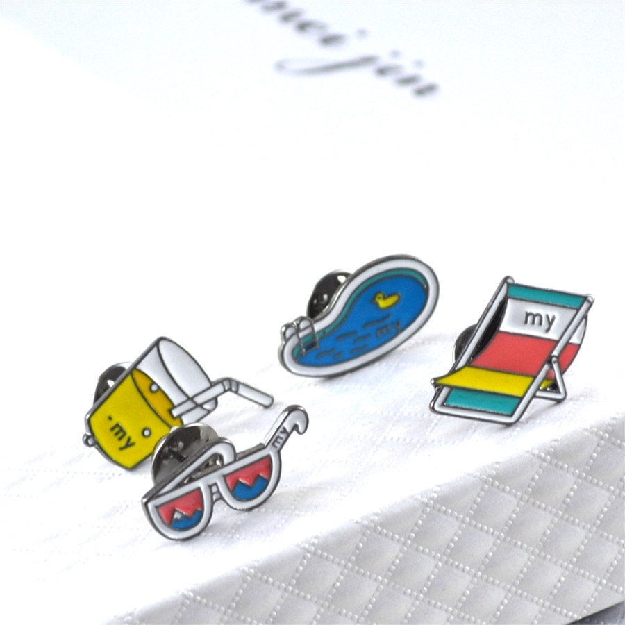 Jewelry Sets & More 2016 Free Shippingfashion Simple Alloy Brooch Glasses/soda/swimming Pool/beach Chair Brooch Collar Pin Gift