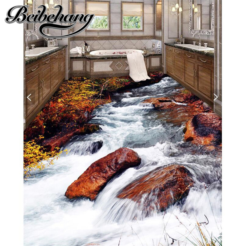 Beibehang Custom 3d Floor Bathroom Kitchen Outdoor Sticky Ground Floor Painting Beach Stone Creek Modern Landscape Painting