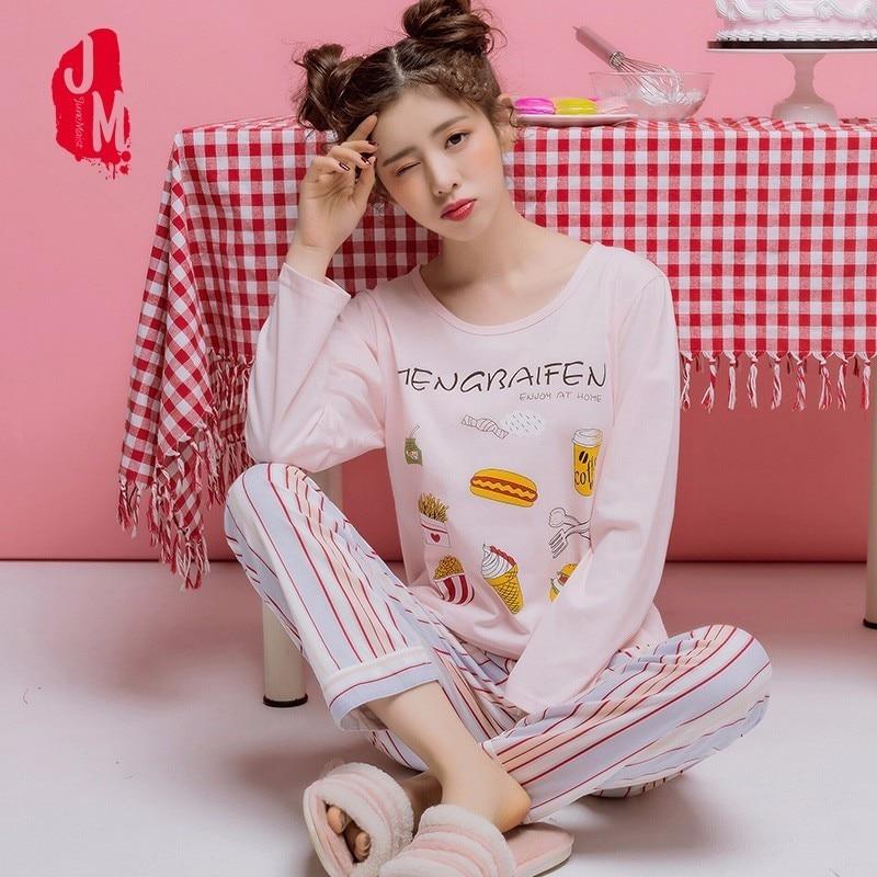 New   Pajamas     Sets   Women 100% Cotton Autumn Long Sleeve   Pajama   Cartoon Casual Long Sleepwear Lounge Suit Plus Size XXXL Homewear