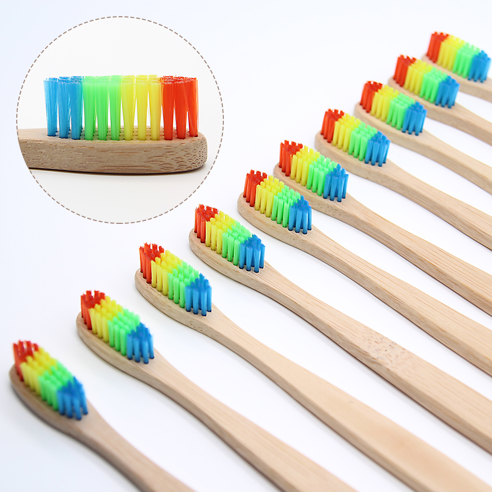 цена на 8 PCS Colorful Bamboo Toothbrush Novelty Rainbow Wood Teeth Brush soft-bristle Bamboo Fibre Wooden Handle