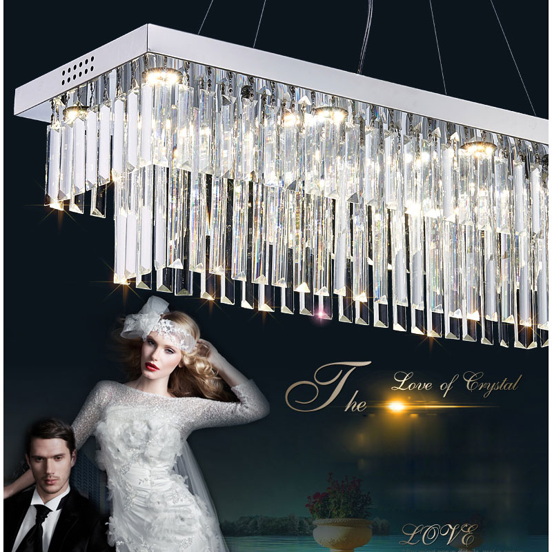 Modern LED crystal pendant light Crystal light rectangle stainless lamp lighting for Dining room Kitchen with LED bulbs lights boreal europe style crystal lighting for bedroom foyer iron retro dining room pendant lights modern simple with e14 led bulbs