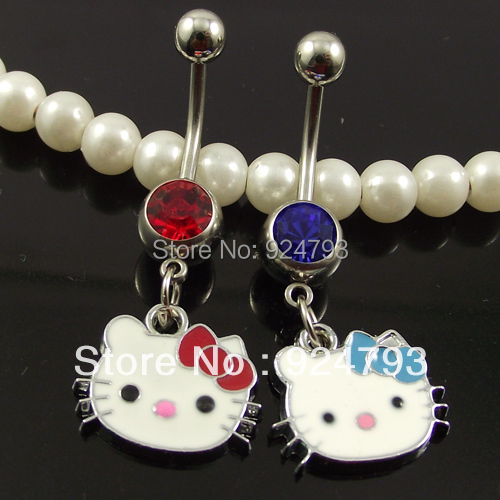 Belly Button Ring Body Jewelry Wholesale Piercing Body Jewelry hello Kitty charm Belly Rings Animal JEWELRY