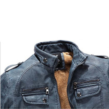 New Men's Leather Jacket Fur Stand Collar PU Motorcycle Jaqueta Masculinas Inverno Couro Jacket Men Wadded Casual Parka Jackets