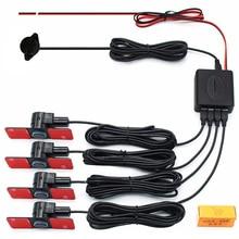 Автомобильный парктроник, парковочный датчик 13 мм, плоский, 4 датчика s, обратный резервный радар-детектор, BI-BI звуковой сигнал, сигнализация, регулируемый звук