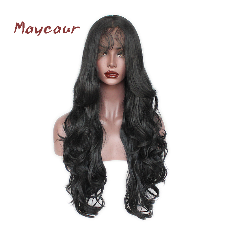 Long Hair Lace Front Wig Synthetic Black Color Body Wave Wigs with Bangs