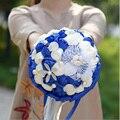 Pop de La Novia Ramo de Flores Ramos de Novia Ramo de La Boda Broche de mariage de Poliéster Azul Real Flores de Cristal buque de noiva