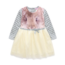 2016 Summer Cotton Long-sleeved Printed Tutu Dress Kids Rabbit Children Princess Costume Toddler Girl Clothing Grey Dress Party