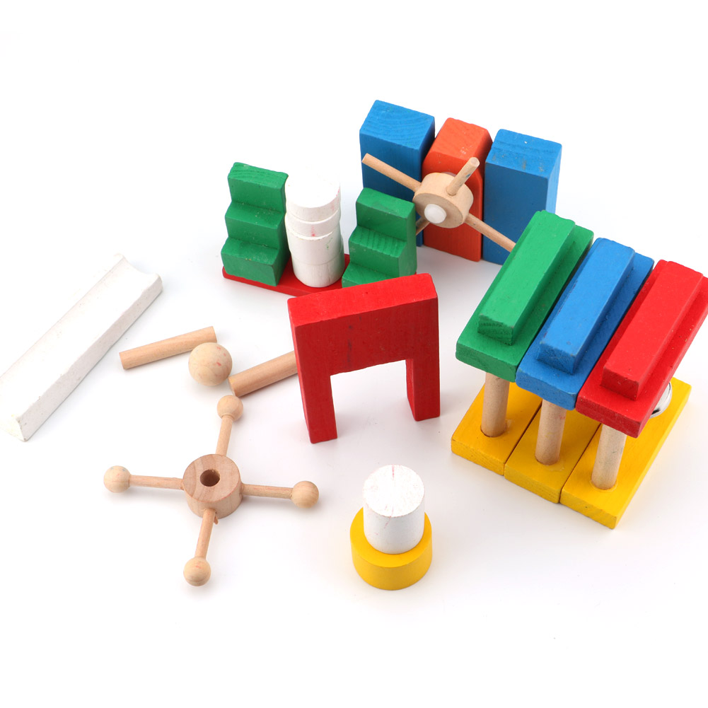 Blocks Toys For Kids Wooden Colorful Domino Set Montessori Early Learning 12Domino+Organ+Code Card