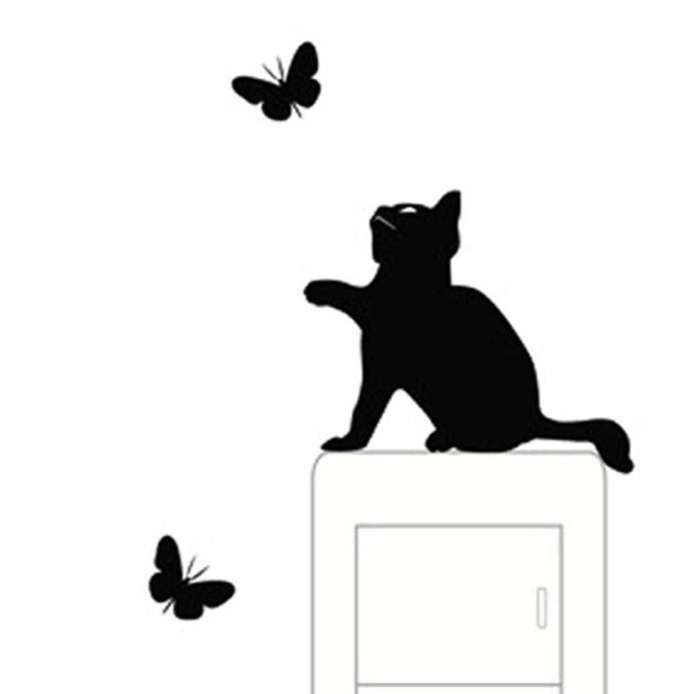 Lindos adhesivos de gato para pared decoración para interruptor de luz calcomanías arte Mural habitación de bebé habitación mariposa pegatina PVC papel tapiz